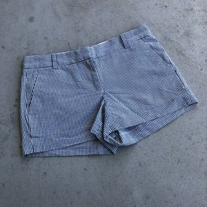 J. Crew Grey & White Striped Cotton Shorts